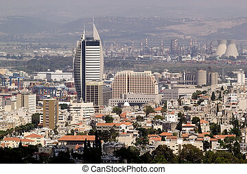 Haifa town view and industrial area in the background,...