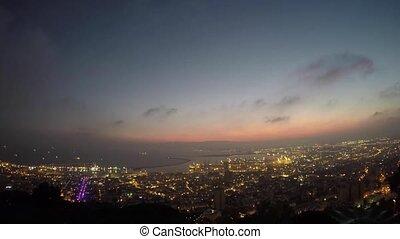 Haifa time lapse view 4k drone footage