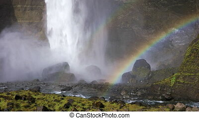 Haifoss Waterfall with rainbow, Iceland - Haifoss waterfall...