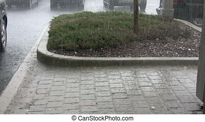 hail - footage of hail storm on walkway