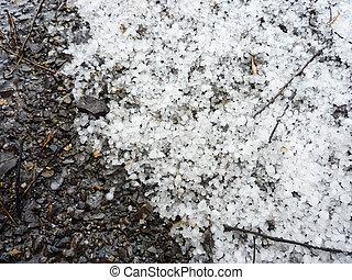 hail grains on the ground
