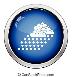 Hail icon. Glossy button design. Vector illustration.