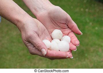 Hail in hands