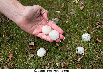 Hail on the grass after the storm