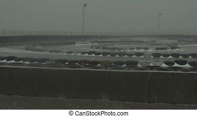 Hailstones rain storm deluge racing track Georgia -...