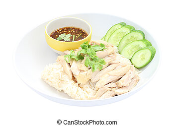 Hainanese chicken rice on white background.
