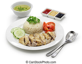 Hainanese chicken rice, singapore cuisine isolated on white ...