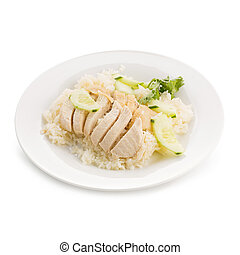 Hainanese chicken rice, Thai gourmet steamed chicken with rice isolated on white background