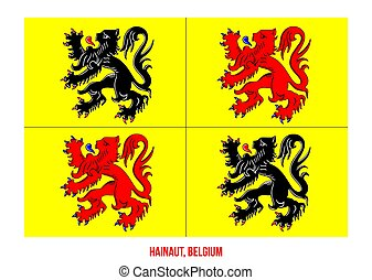 Hainaut Flag Vector Illustration on White Background. Provinces Flags of Belgium.