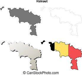 Hainaut outline map set - Belgian version
