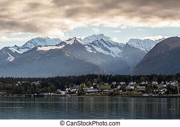 Haines Alaska with Storm Clouds - Haines Alaska across...