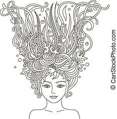 hair., ファッション, 女性, 抽象的, 美しい, 肖像画, 波状