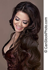 hair., 時裝, style., 高興的微笑, 黑發淺黑膚色女子, girl., 健康, 長, hair., 美麗, 模型, woman., 發型