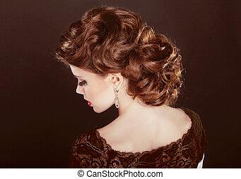 hair., 波状, hairstyle., 美しい, 女の子, ∥で∥, ブラウン, 巻き毛, hair., 健康, ロマンチック, hair.