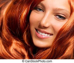 hair., 美麗, 女孩, 由于, 健康, 長, 紅色, 卷曲的頭髮麤毛交織物