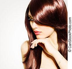 hair., 美麗, 黑發淺黑膚色女子, 女孩, 由于, 健康, 長的 棕色 頭髮