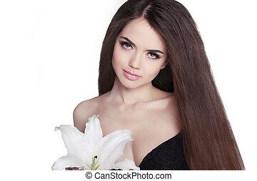 hair., 美麗, 黑發淺黑膚色女子, girl., 健康, 長, hair., 美麗, 模型, woman., hairstyle., 頭髮麤毛交織物注意