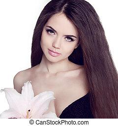 hair., 아름다운, 브루넷의 사람, girl., 건강한, 길게, hair., 아름다움, 모델, woman., hairstyle., 모발 관리