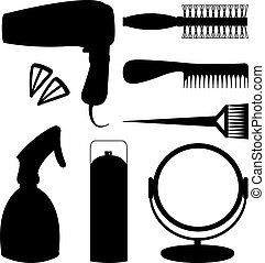 Hair accessories and barber tools black icons