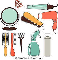 Hair accessories and barber tools color icons