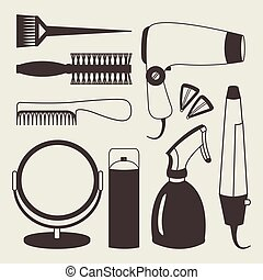 Hair accessories and barber tools grey icons