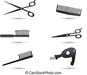 Hair accessories icons and elements - Hair accessories...