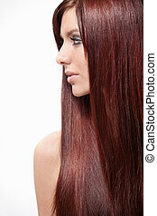 Hair - Attractive girl with long hair isolated
