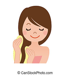 hair bathing - A woman with a towel to wipe the hair bathing...