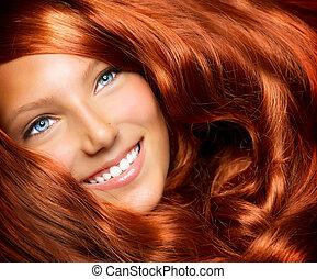hair., beau, girl, à, sain, long, rouges, cheveux bouclés