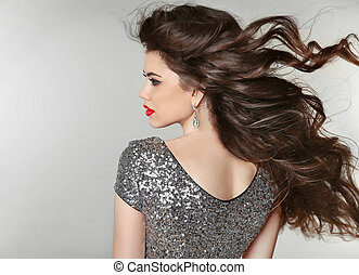 Hair. Beautiful Brunette Girl. Healthy Long Hair. Beauty...