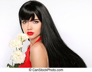 Hair. Beautiful Brunette Girl. Makeup. Healthy Long Hair. Beauty Model Woman with white flowers. straight Hairstyle.
