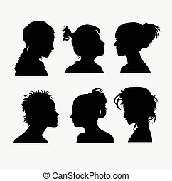 Hair beauty and face people silhouette