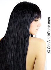 Hair. Beauty Girl with Long Straight Black Healthy Hair