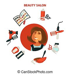 Hair beauty or woman hairdresser salon poster for...