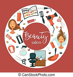 Hair beauty salon vector hairdresser parlor poster of...