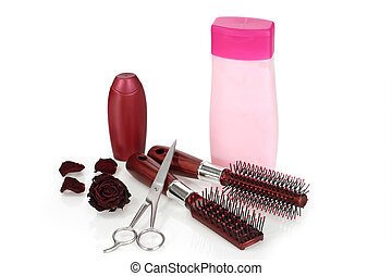 Hair beauty - Shampoo and hairbrush on bright background
