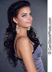 hair., beleza, mulher, com, longo, pretas, hair., hairstyle., bonito, modelo, menina, portrait., earrings., acessório
