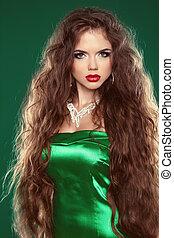 hair., bonito, excitado, morena, woman., saudável, longo, marrom, hair., beleza, modelo, girl.