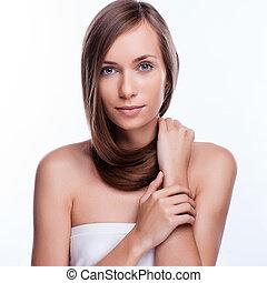 hair., bonito, morena, girl., saudável, longo, hair., beleza, modelo, woman., penteado