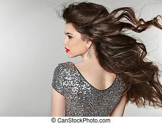 hair., bonito, morena, girl., saudável, longo, hair., beleza, modelo, woman., soprando, hairstyle.
