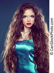 hair., bonito, morena, menina, com, jewelry., saudável, longo, hair., beleza, modelo, woman., penteado