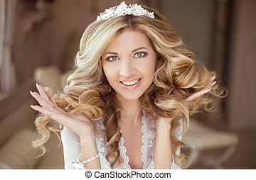 hair., bonito, morena, noiva, girl., casório, makeup., saudável, longo, hair., beleza, modelo, woman., indoor, portrait.