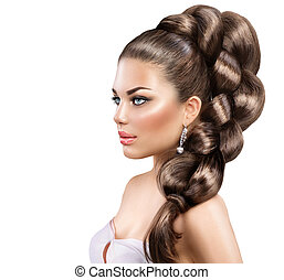 Hair braid. Beautiful woman with healthy long hair