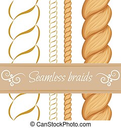 Hair braided isolated on white. Seamless twist braids with outli
