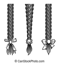 Hair braids set - Set of braided hair with a bow at the tip...