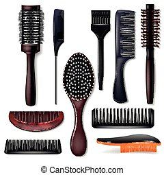 Hair brush vector hairstyling comb or hairbrush and haircare...