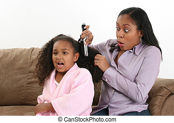 Hair Brushing - Mom finds a tangle brushing daughters hair...