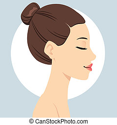 Portrait illustration of beautiful woman head with hair bun hairstyle