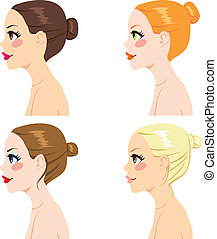 Hair Bun Styles - Four women profile with different hair bun...