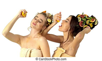Hair care and facial mask from fruits and woman body . -...